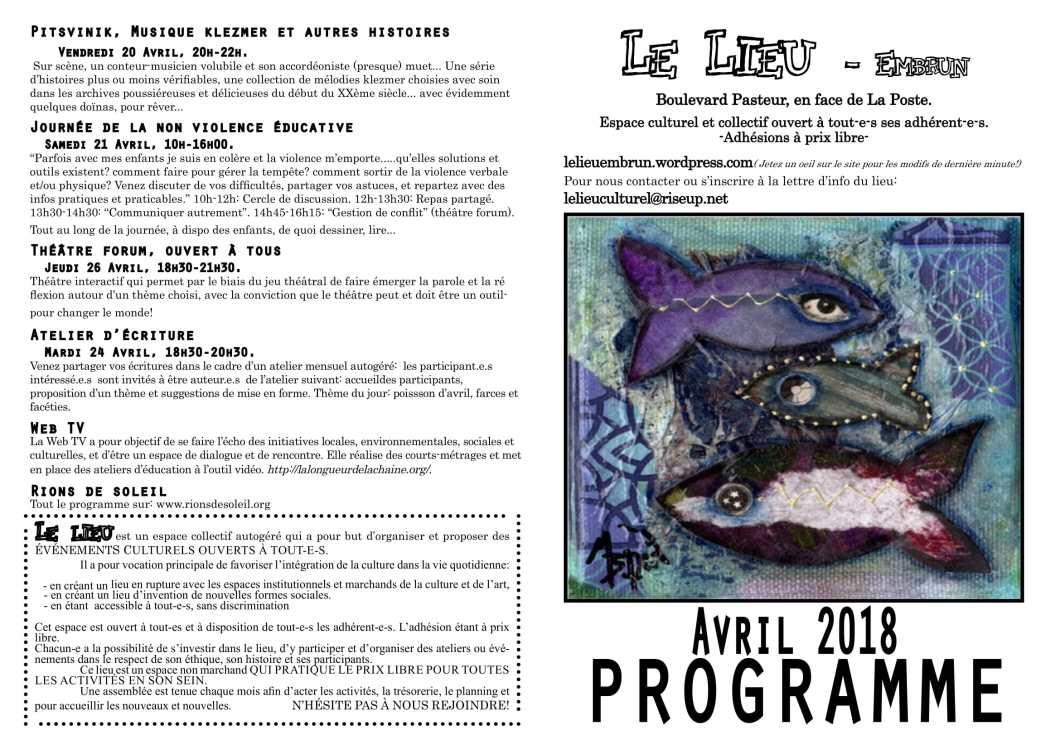 lieu cu programme Avril-1